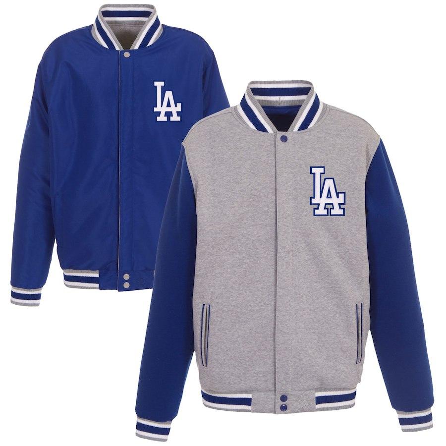 MLB ドジャース ジャケット/アウター エンブロイダード リバーシブル フル スナップ フリース ジャケット JH Design