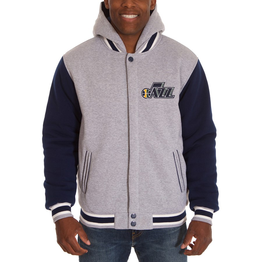 NBA ジャズ ジャケット/アウター ツートン リバーシブル フリース フーデッドジャケット JH Design ネイビー/ グレー