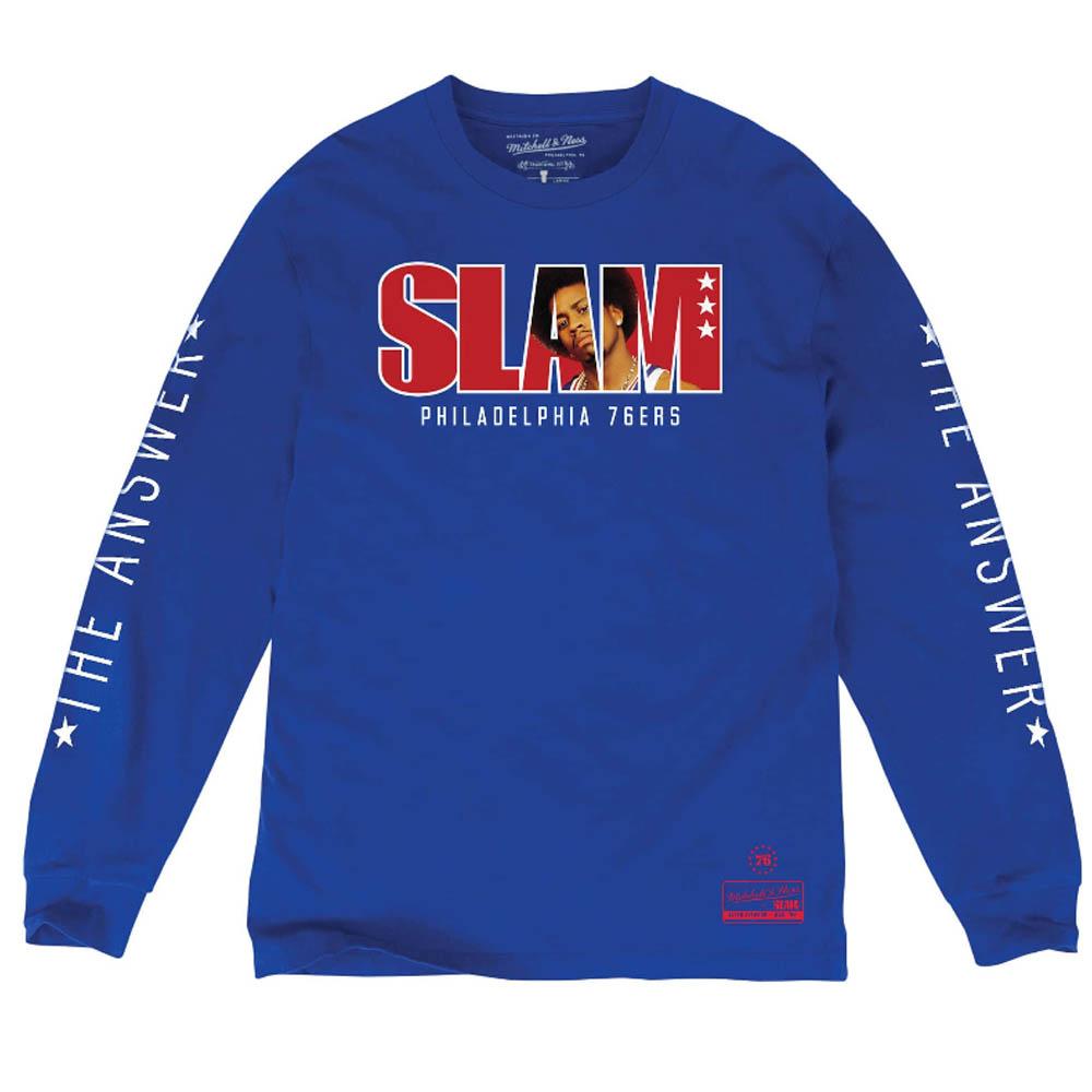 brand new d194f 8bb5f NBA 76ers Allen Iverson long T-shirt SLAM/ slum cover logo Mitchell & Ness  royal