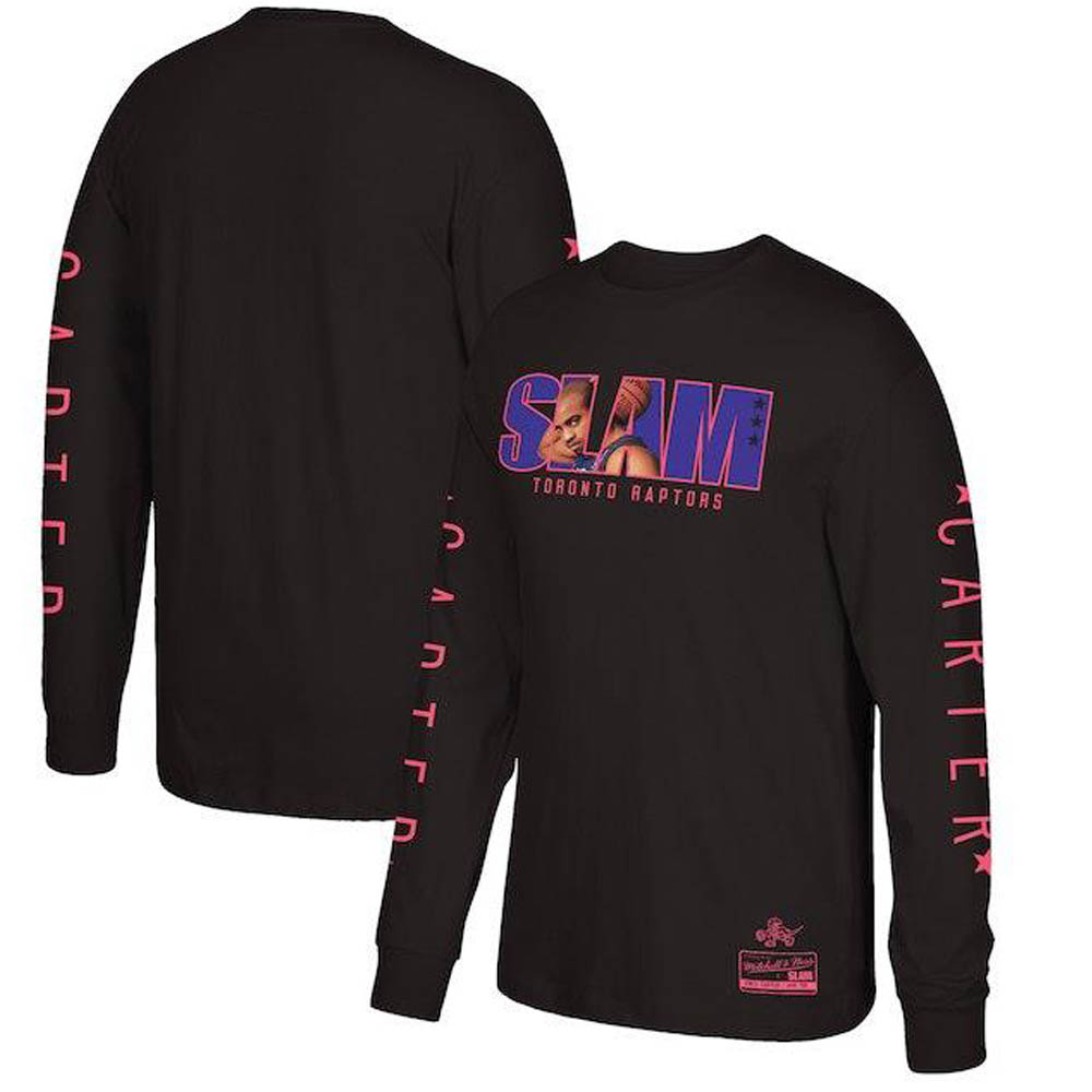 NBA ラプターズ ヴィンス・カーター ロングTシャツ SLAM/スラム 表紙ロゴ Mitchell & Ness ブラック