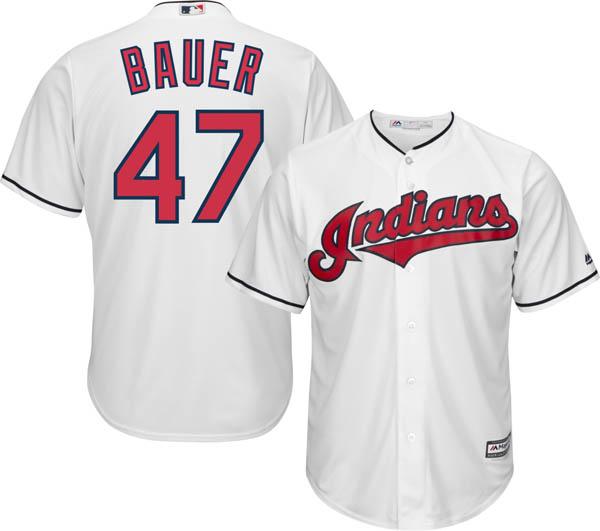 お取り寄せ お取り寄せ MLB インディアンス トレバー・バウアー レプリカ ユニフォーム/ジャージ クールベース マジェスティック/Majestic ホーム