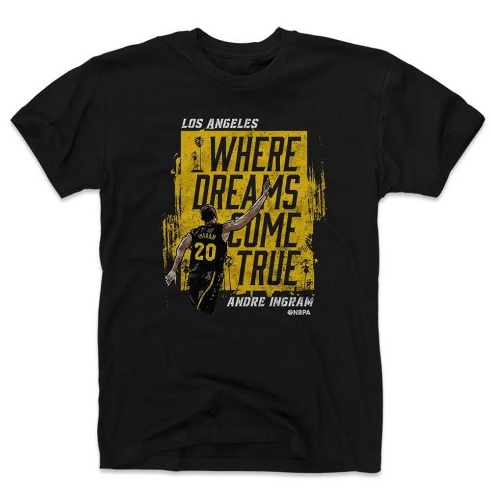 NBA Tシャツ レイカーズ アンドレ・イングラム プレーヤー アート ドリームズ カム トゥルー 500Level ブラック【1910価格変更】【1911NBAt】