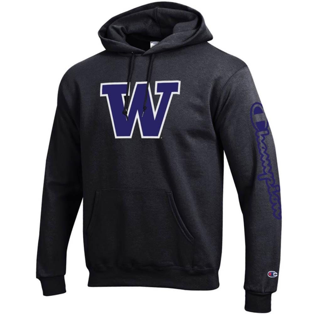 お取り寄せ お取り寄せ NCAA ワシントン大学 ハスキーズ パーカー/フーディー ブランデッド フーデッド チャンピオン/Champion ブラック