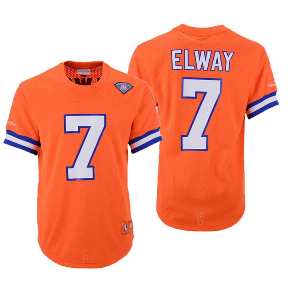 お取り寄せ お取り寄せ NFL ブロンコス ジョン・エルウェイ ユニフォーム/ジャージ メッシュ クルーネック Mitchell & Ness オレンジ