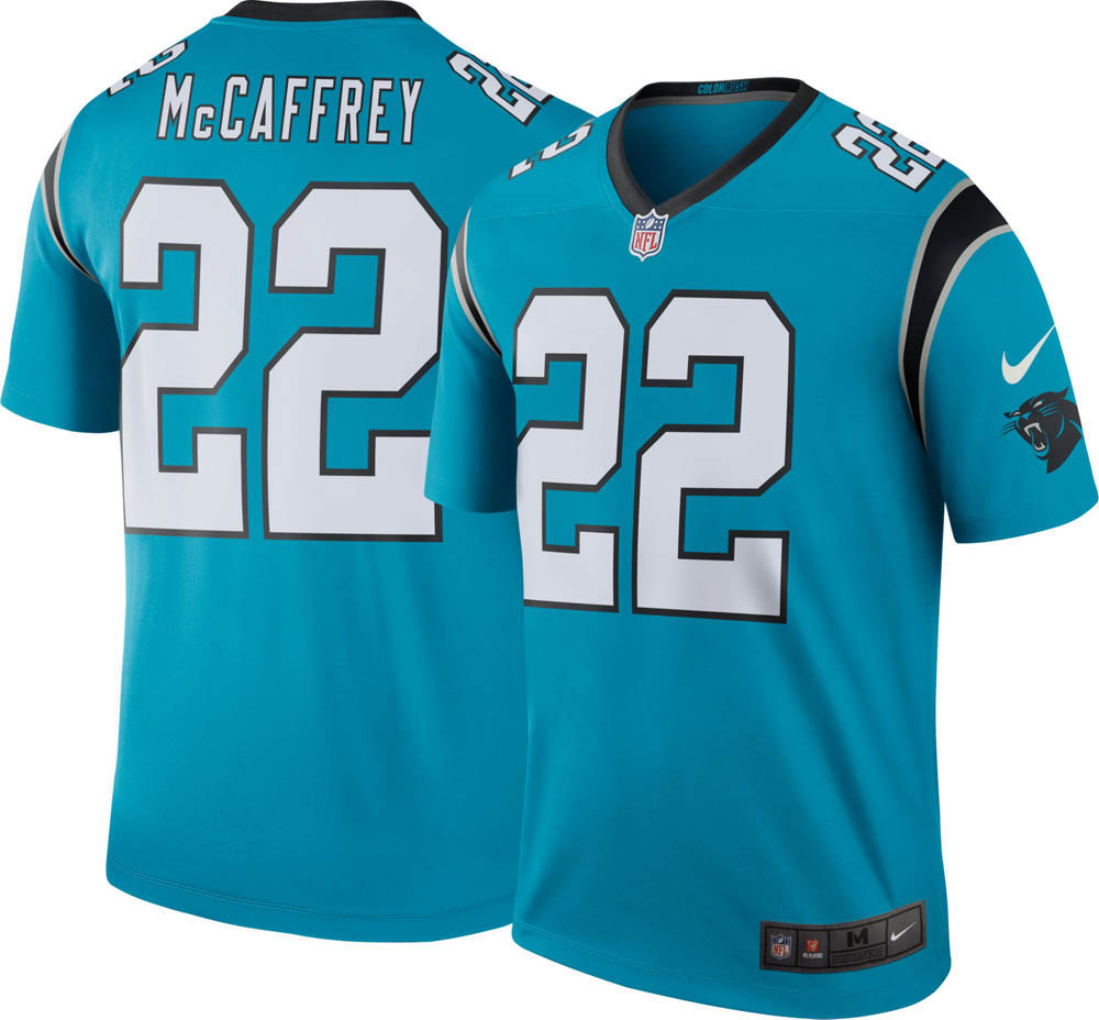 the best attitude 31358 452de NFL Panthers Christian McCaffrey uniform / jersey color rush legend Nike  /Nike