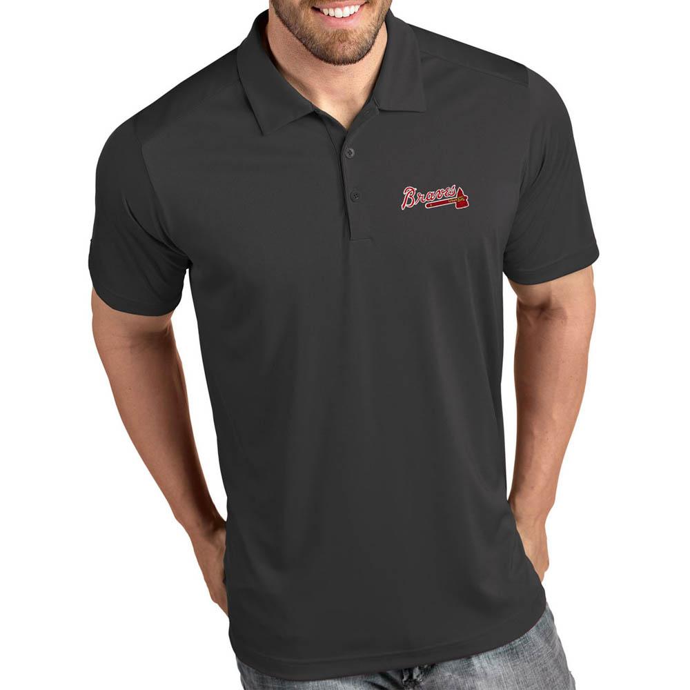 MLB ブレーブス ポロシャツ トリビュート パフォーマンス メンズ Antigua グレー