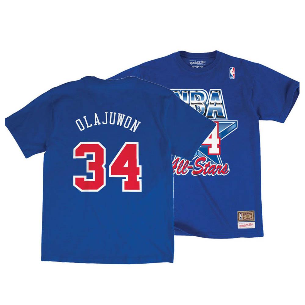 お取り寄せ お取り寄せ NBA アキーム・オラジュワン Tシャツ オールスターゲーム 1992 ネーム&ナンバー Mitchell & Ness ブルー