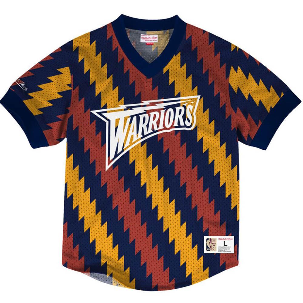 お取り寄せ お取り寄せ NBA ウォリアーズ Tシャツ キッキング イット ワードマーク メッシュ ミッチェル&ネス/Mitchell & Ness パープル