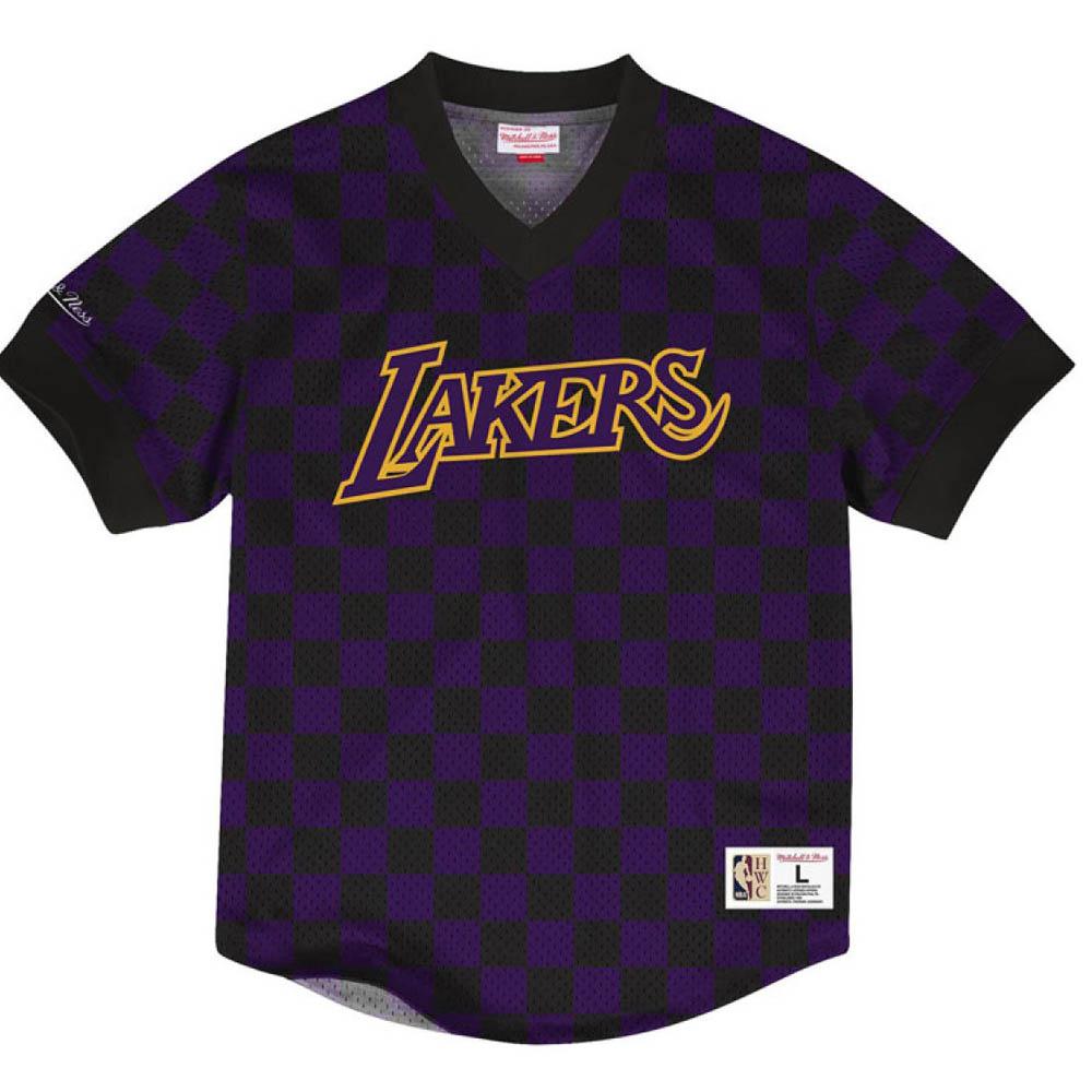 お取り寄せ お取り寄せ NBA レイカーズ Tシャツ キッキング イット ワードマーク メッシュ ミッチェル&ネス/Mitchell & Ness ブラック