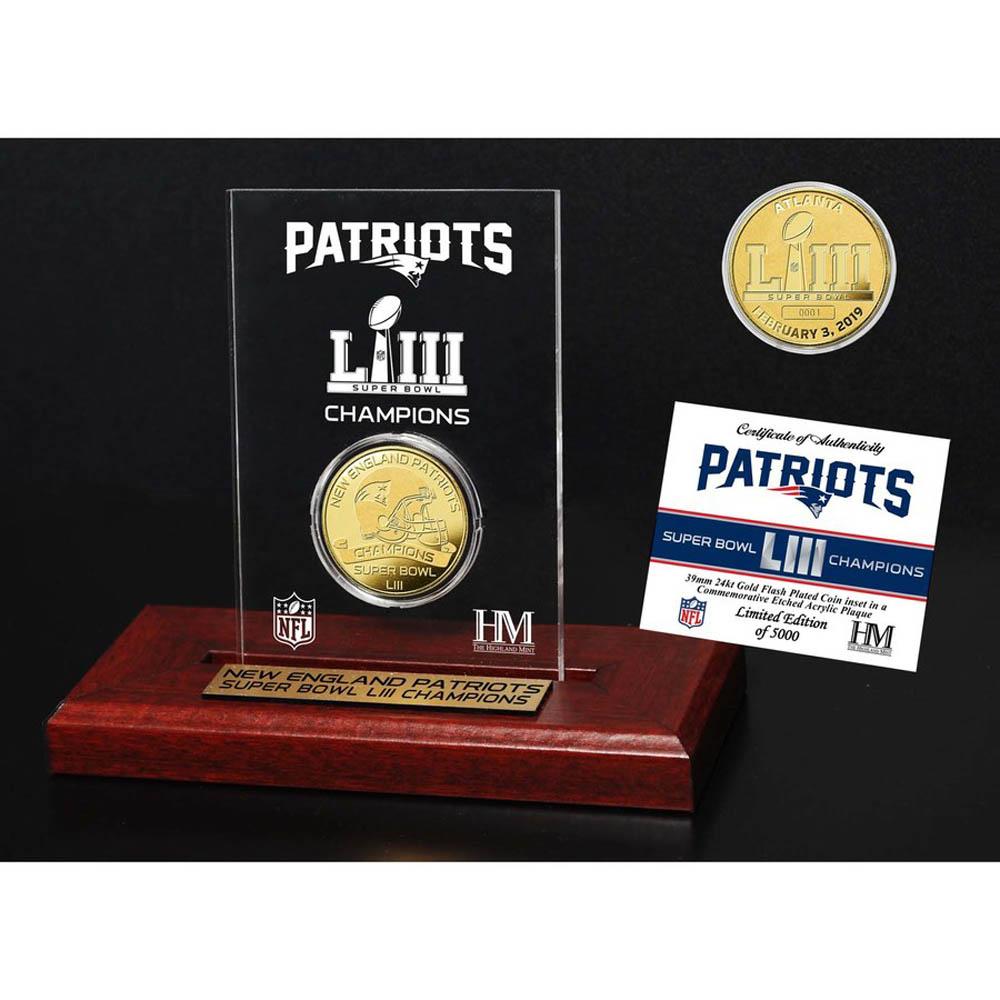 NFL ペイトリオッツ 第53回スーパーボウル 優勝記念 ゴールドコイン エッチング The Highland Mint