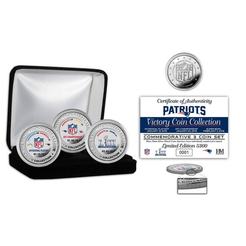 お取り寄せ お取り寄せ NFL ペイトリオッツ 第53回スーパーボウル 優勝記念 シルバーカラーコイン セット The Highland Mint