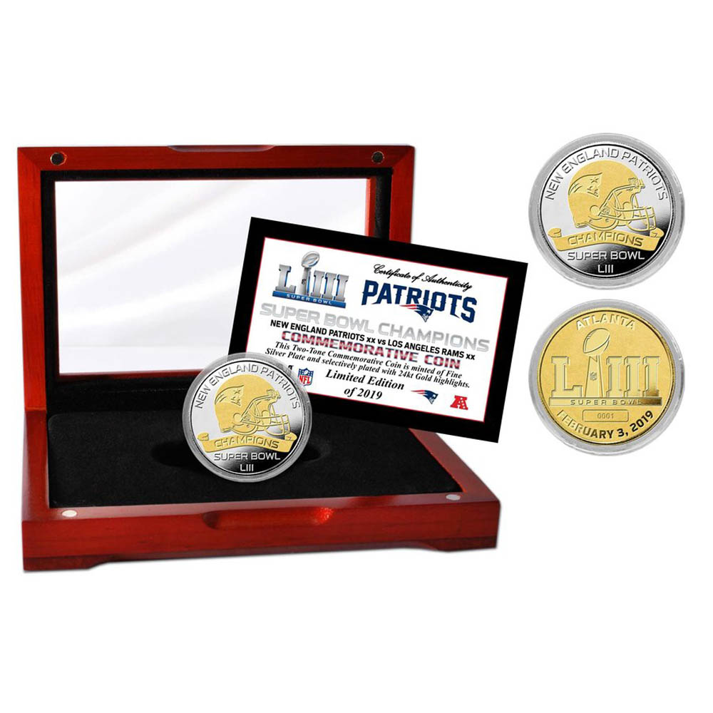 NFL ペイトリオッツ 第53回スーパーボウル 優勝記念 ツートーン コイン&ディスプレイケース The Highland Mint
