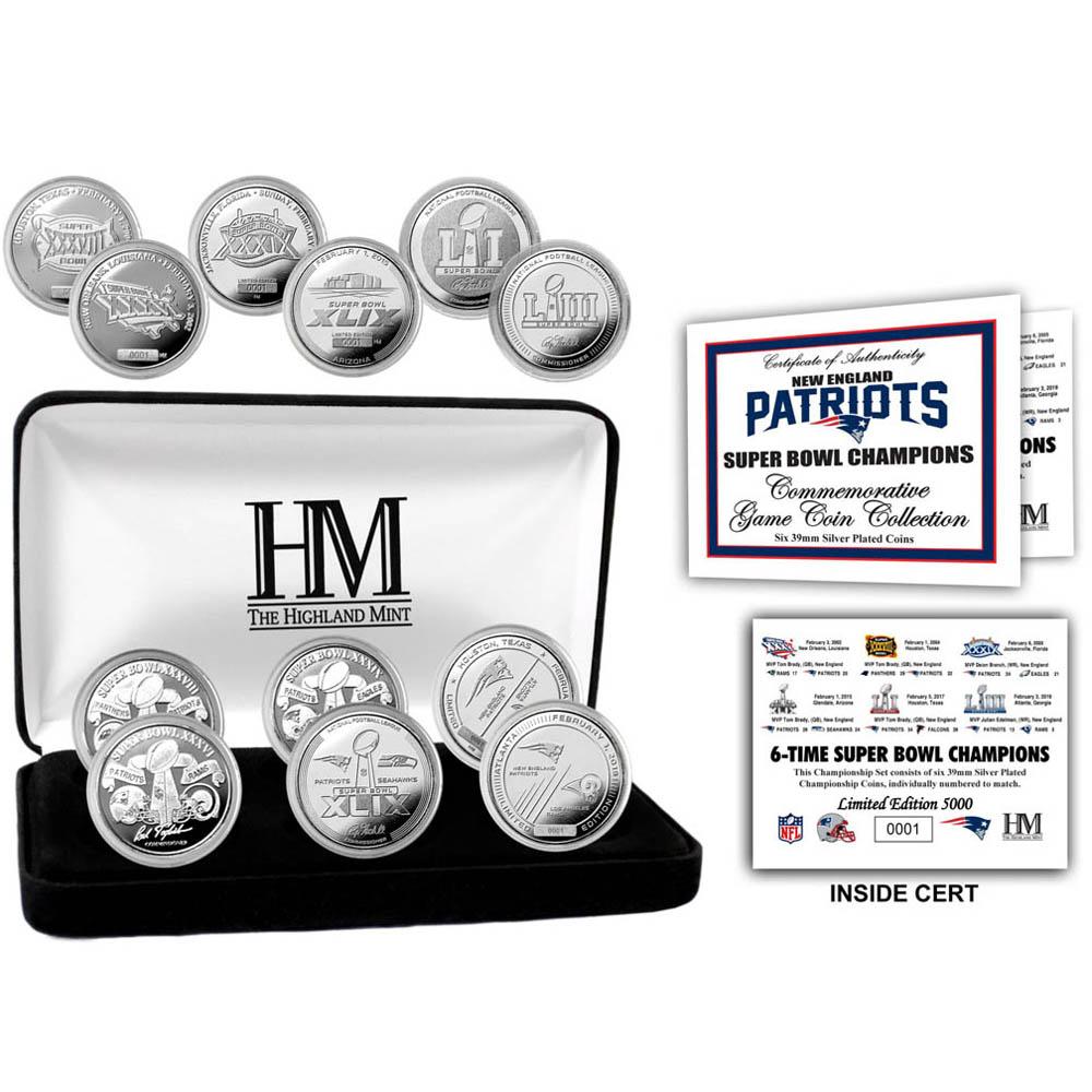 NFL ペイトリオッツ 第53回スーパーボウル 優勝記念 6X シルバーコイン セット The Highland Mint