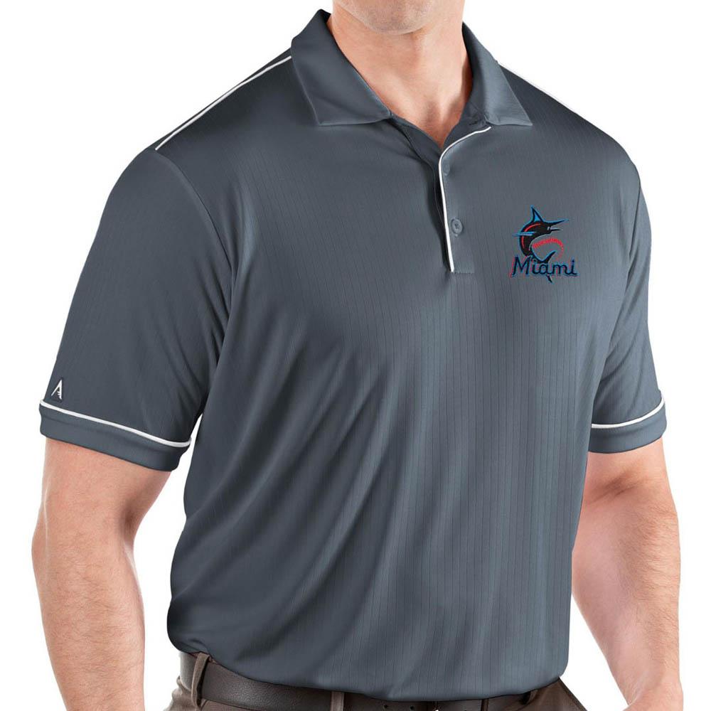 MLB マーリンズ ポロシャツ サルート パフォーマンス メンズ Antigua グレー