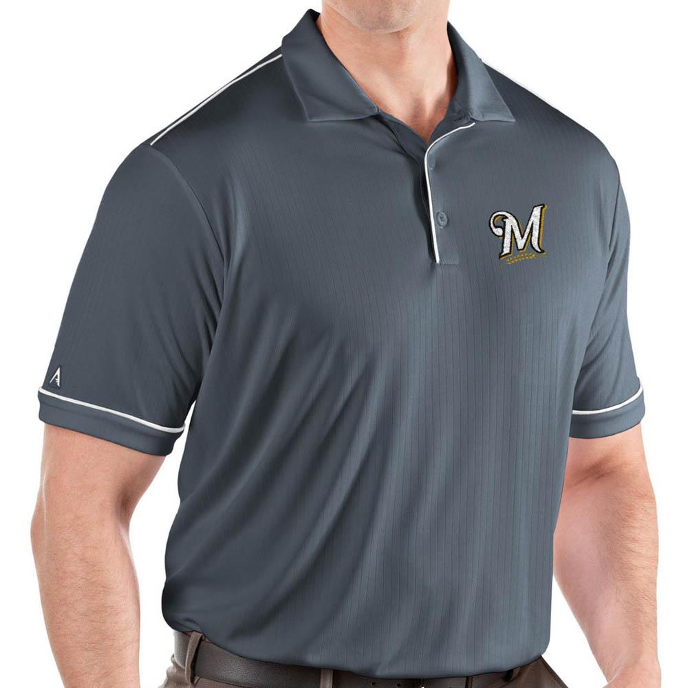 MLB ブリュワーズ ポロシャツ サルート パフォーマンス メンズ Antigua グレー