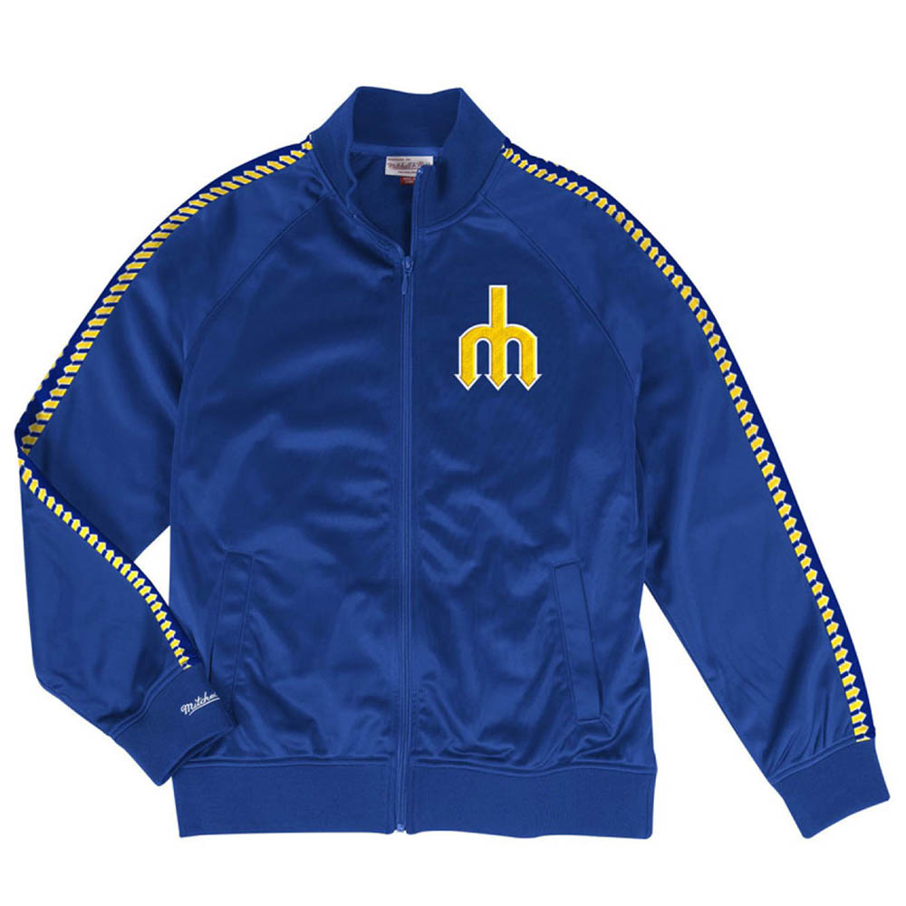 お取り寄せ MLB マリナーズ トラックジャケット サブリメイテッド スリーブ Mitchell & Ness ブルー