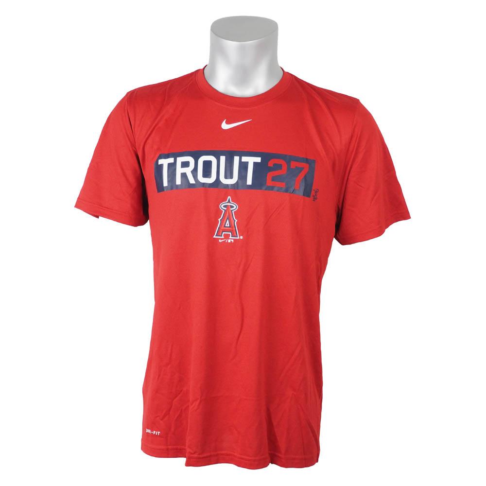 MLB エンゼルス マイク・トラウト Tシャツ ネーム&ナンバー ボックスロゴ メンズ ナイキ/Nike レッド 00037210X-27A【1910価格変更】【1112】