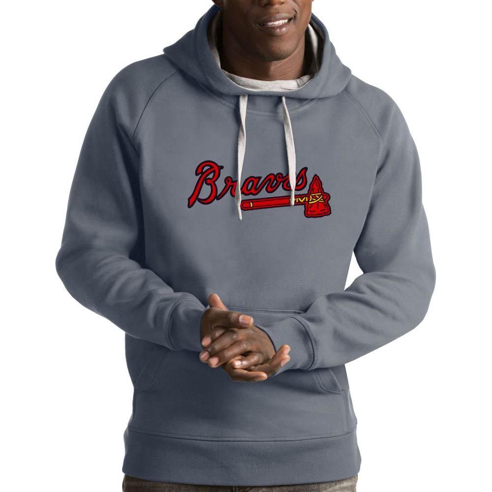 MLB ブレーブス パーカー/フーディー ビクトリー プルオーバー Antigua グレー