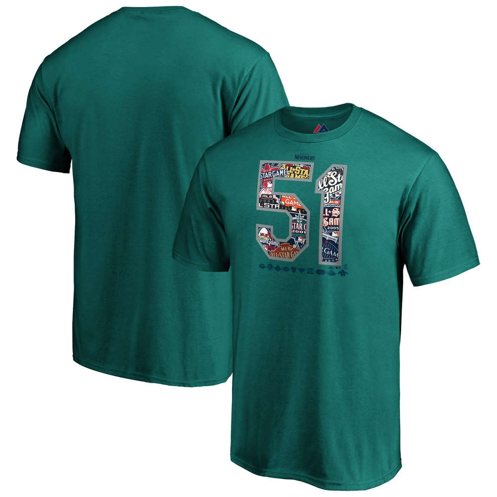 640f97680 MLB Mariners Ichiro T-shirt retirement memory all-stars Majaetic aqua ...