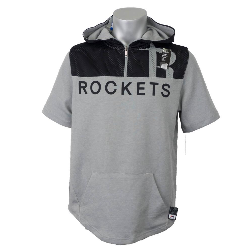 NBA ロケッツ パーカー/フーディー メッシュブロック マジェスティック/Majestic ヘザー/ブラック