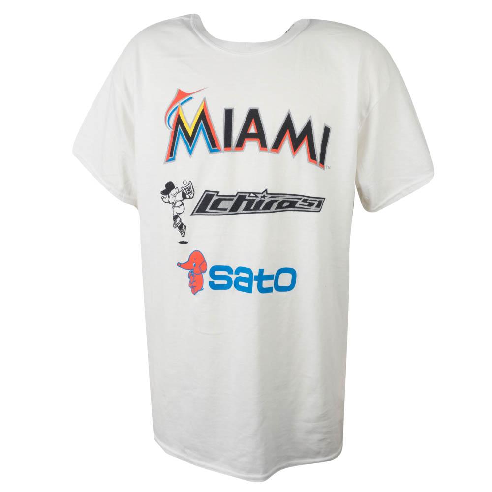 MLB マーリンズ イチロー Tシャツ マーリンズ 佐藤製薬 背面捕り SGA ホワイト