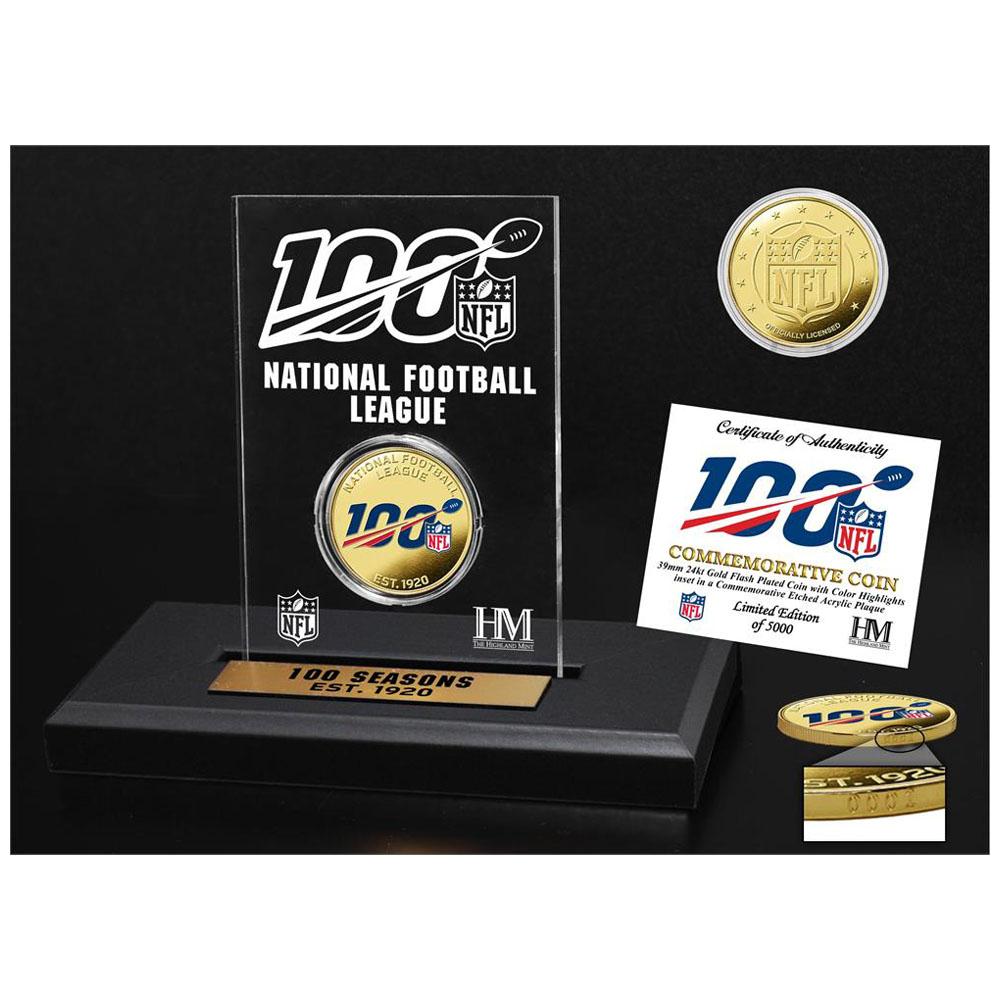 お取り寄せ NFL 100周年記念 ゴールドカラーコイン アクリルディスプレイ The Highland Mint