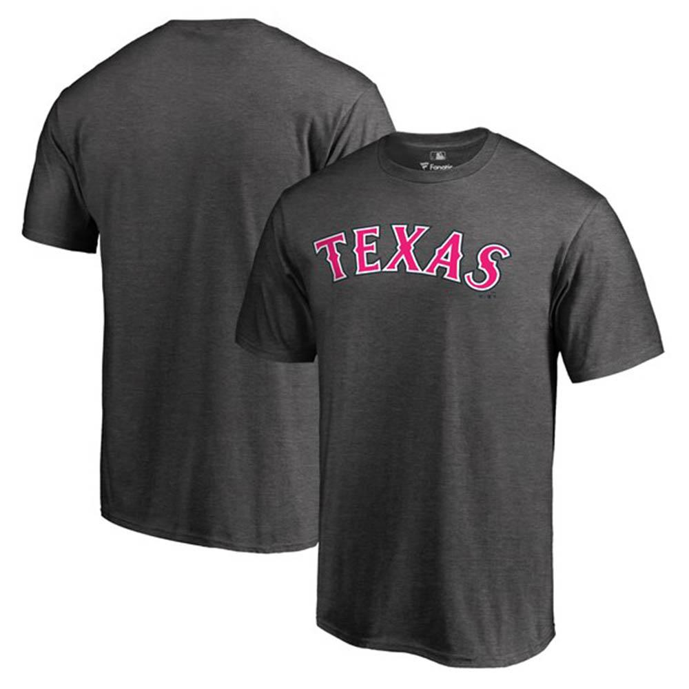 MLB レンジャーズ Tシャツ 2019 マザーズデー 母の日 ピンク ワードマーク グレー【1910価格変更】【1112】