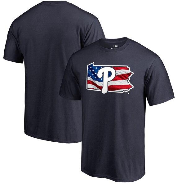 MLB フィリーズ Tシャツ 2019 メモリアル デー バナー ステート ネイビー【1910価格変更】【1112】
