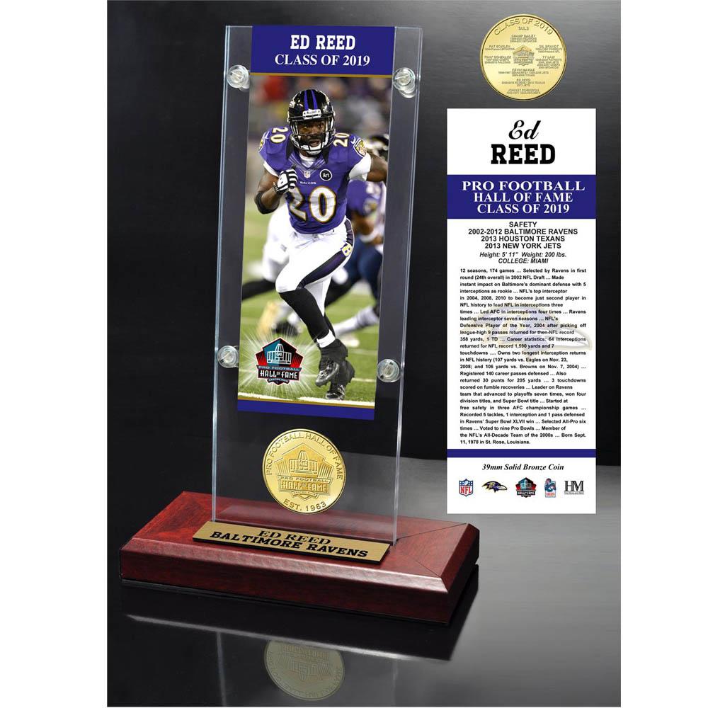 NFL エド・リード ホール オブ フェイム 2019 ブロンズ コイン アクリック デスク トップ The Highland Mint