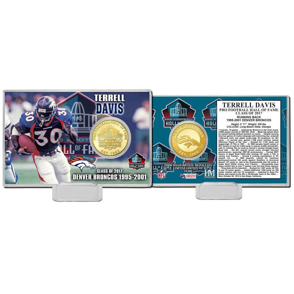 NFL テレル・デイビス 2017 プロフットボール ホール オブ フェイム ブロンズ コイン The Highland Mint【1910価格変更】