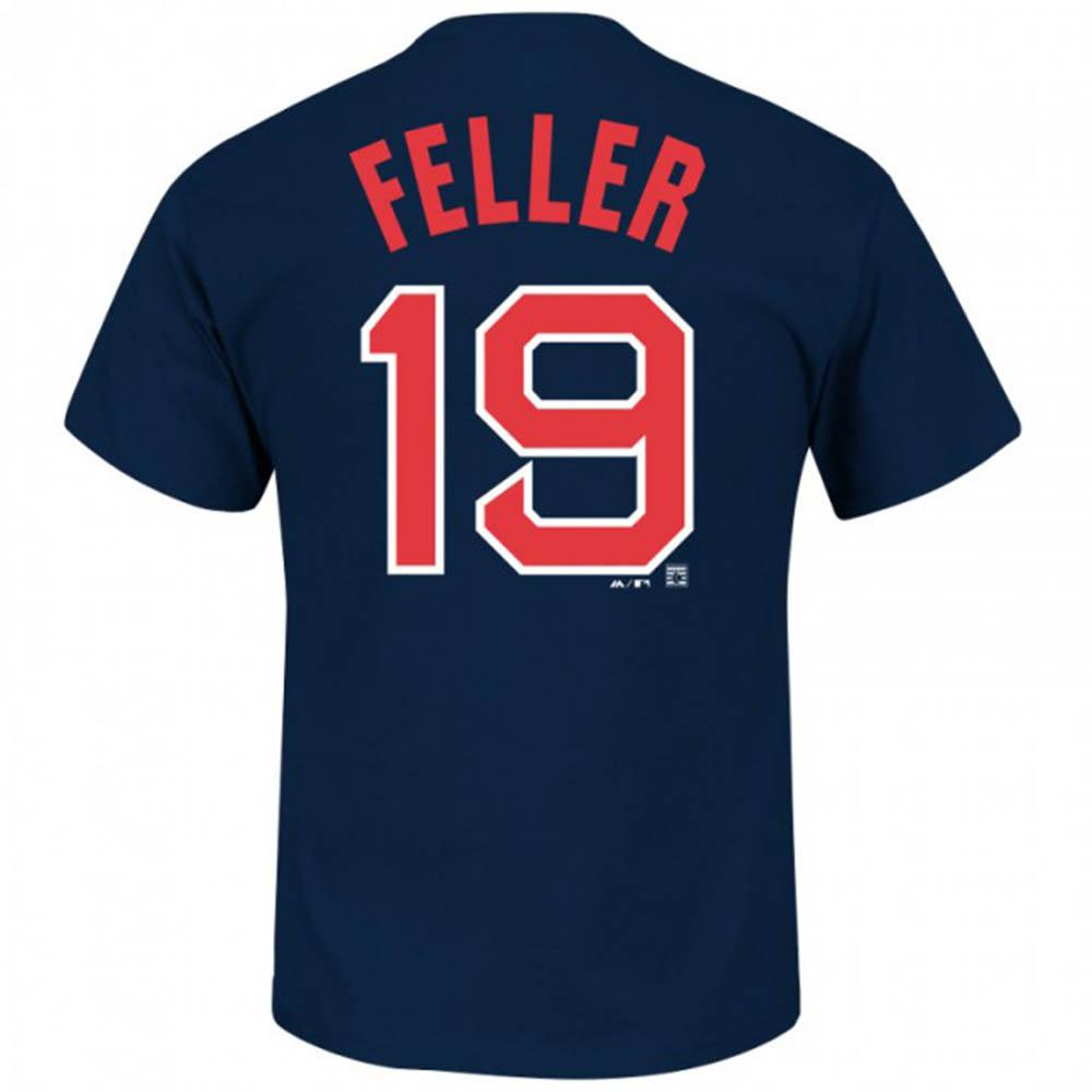 MLB インディアンス ボブ・フェラー Tシャツ ネーム&ナンバー マジェスティック/Majestic Navy 【1910価格変更】【1112】
