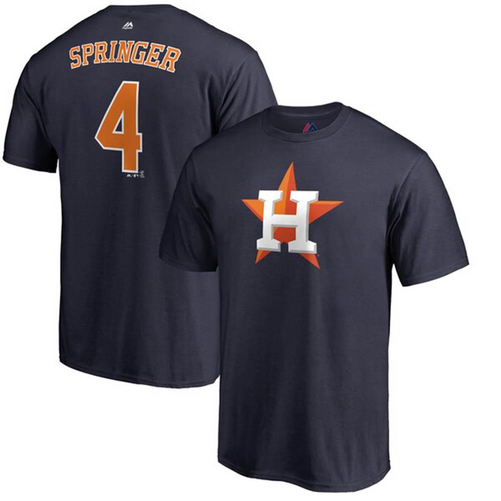 MLB アストロズ ジョージ・スプリンガー Tシャツ ダブルプレー ネーム&ナンバー マジェスティック/Majestic ネイビー