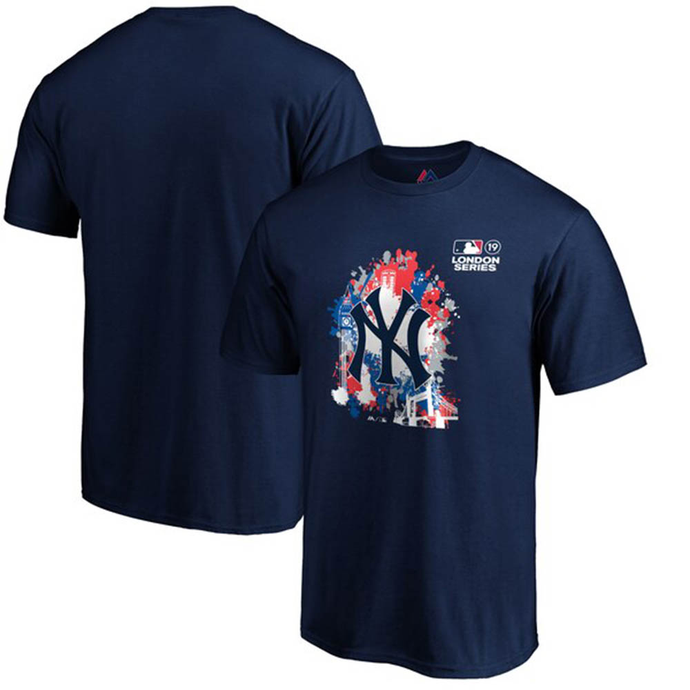 MLB ヤンキース Tシャツ 2019 ロンドンゲーム スプラッター マジェスティック/Majestic ネイビー【1910価格変更】【1112】