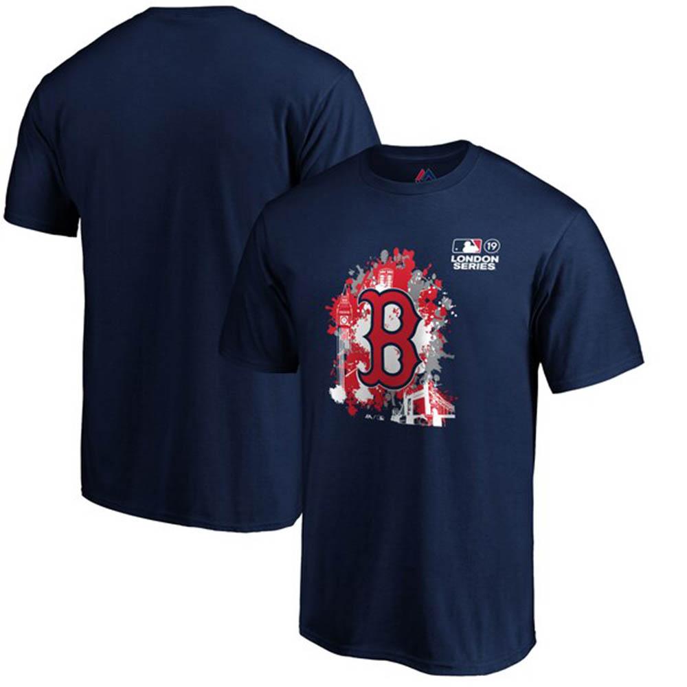 MLB レッドソックス Tシャツ 2019 ロンドンゲーム スプラッター マジェスティック/Majestic ネイビー【1910価格変更】【1112】