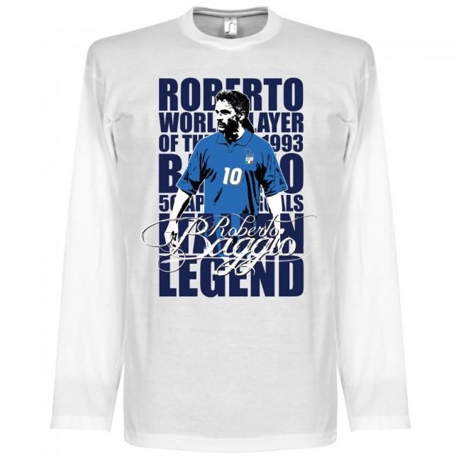 イタリア代表 ロベルト・バッジョ Tシャツ SOCCER レジェンド ロングスリーブ サッカー/フットボール ホワイト【1910価格変更】
