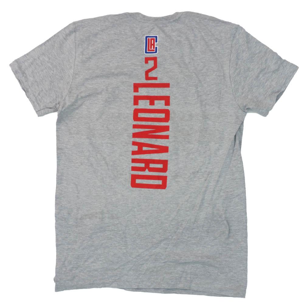 あす楽対応 ファン定番グッズ プレイヤーネーム ナンバーTシャツ カワイ 直営限定アウトレット レナード 1911NBAt Tシャツ グレー NBA クリッパーズ キャンペーンもお見逃しなく