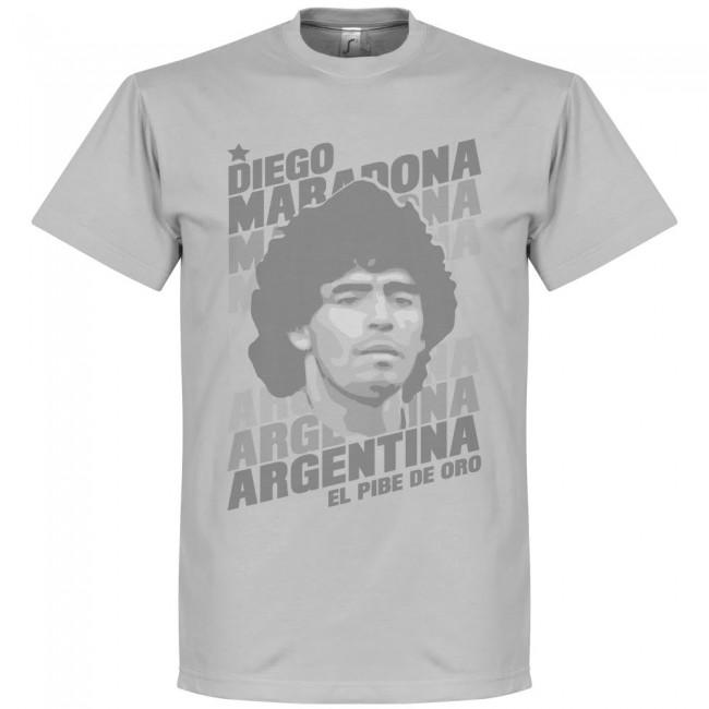 勇ましい顔つきが堪らない 出群 ポートレートTシャツ アルゼンチン代表 ディエゴ マラドーナ グレー Tシャツ SOCCER ポートレイト 特価