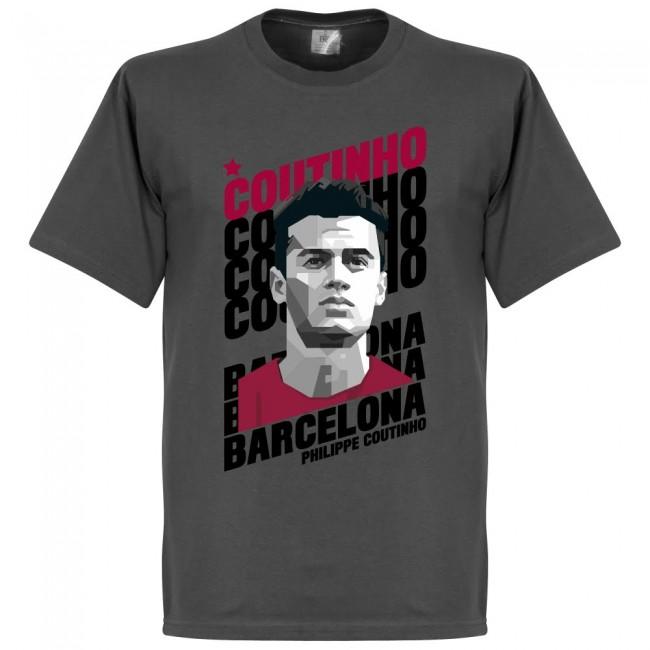 勇ましい顔つきが堪らない セール 登場から人気沸騰 ポートレートTシャツ バルセロナ コウチーニョ SOCCER 新作製品、世界最高品質人気! Tシャツ グレー ポートレイト