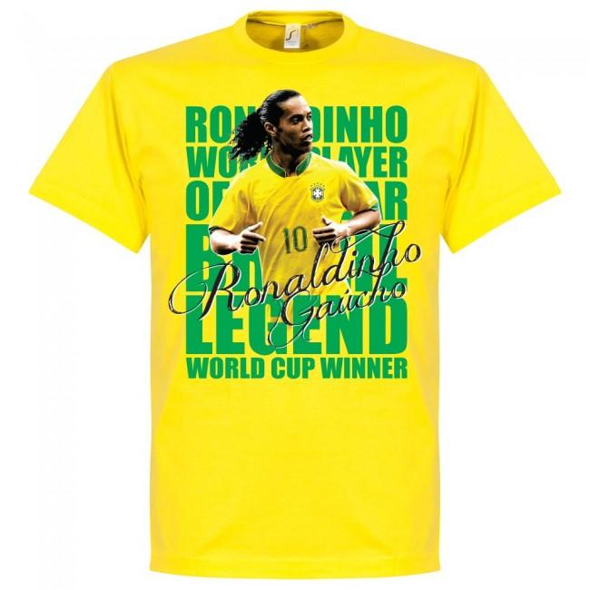 ブラジル代表 ロナウジーニョ Tシャツ SOCCER レジェンド サッカー/フットボール イエロー【1910価格変更】