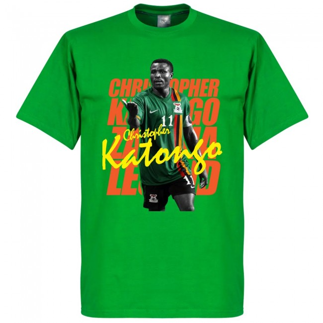 サッカー界のレジェンドが勢揃い 即納送料無料! グラフィックTシャツ ザンビア代表 クリストファー カトンゴ Tシャツ 定番から日本未入荷 フットボール レジェンド グリーン SOCCER サッカー