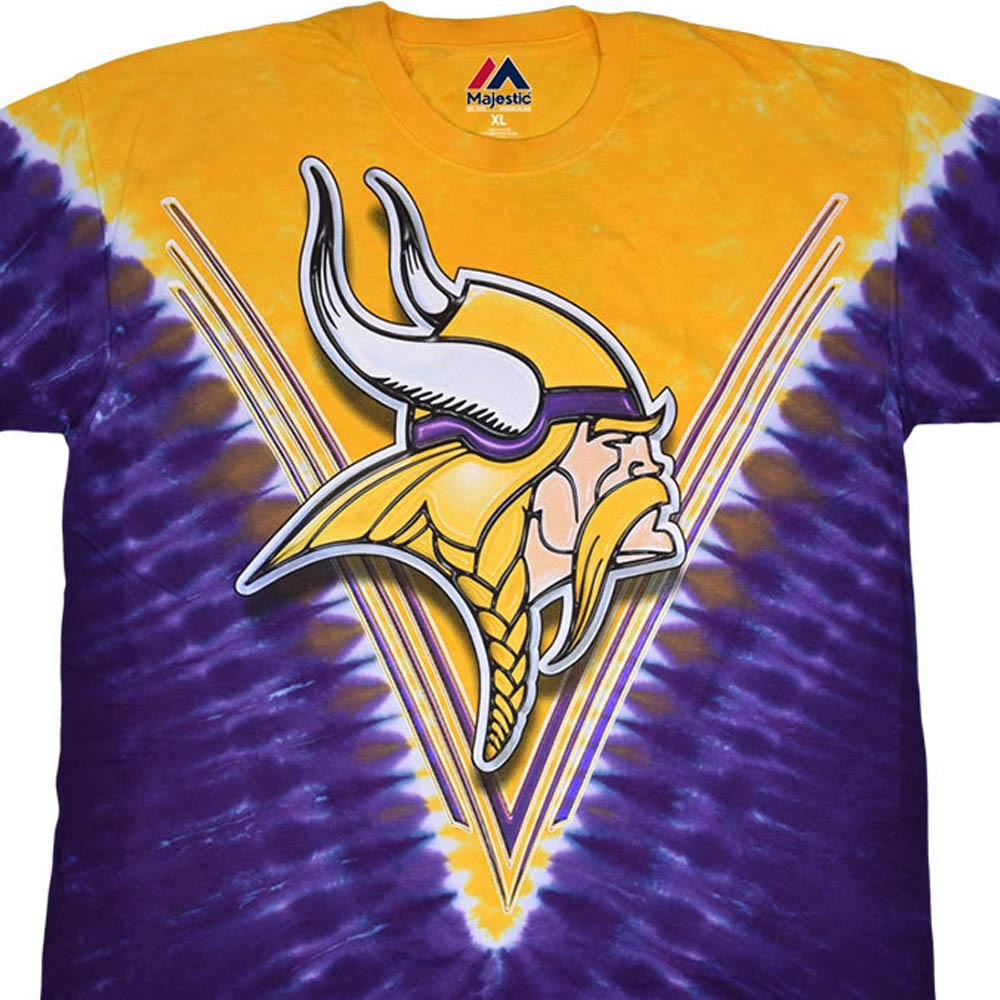 NFL ミネソタ・バイキングス Tシャツ V タイダイ染め