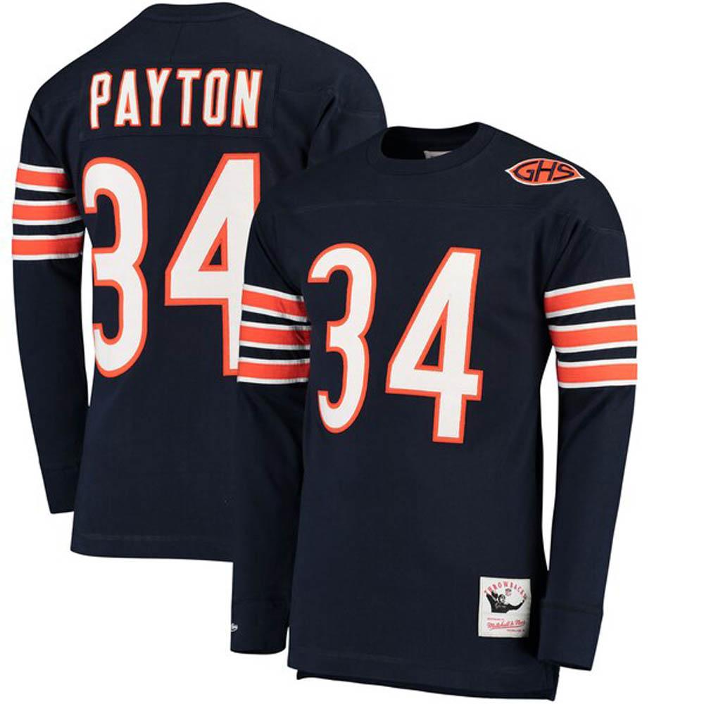 NFL ウォルター・ペイトン ベアーズ Tシャツ 引退選手 ネーム & ナンバー ロング ミッチェル&ネス/Mitchell & Ness ネイビー