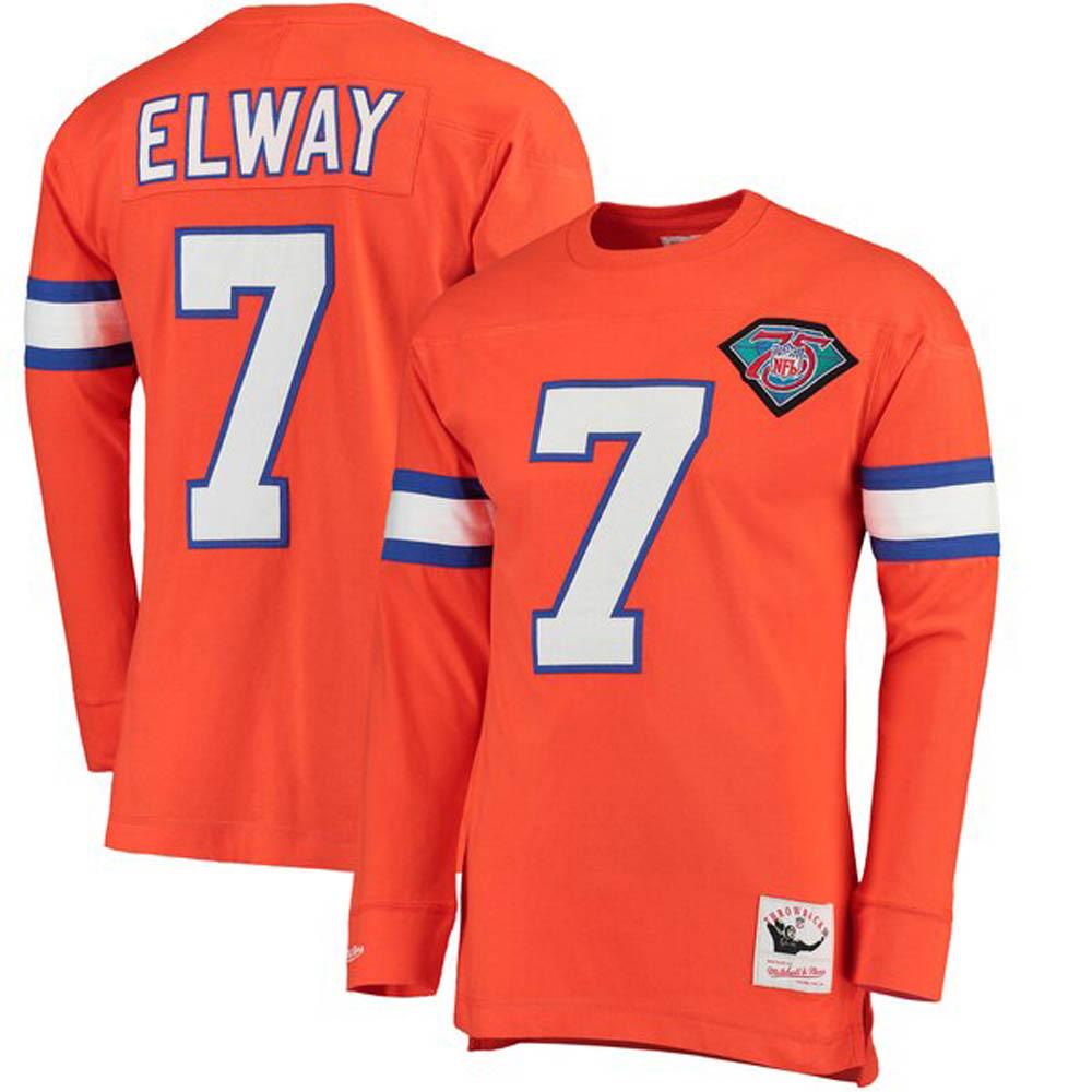 NFL ジョン・エルウェイ ブロンコス Tシャツ 引退選手 ネーム & ナンバー ロング ミッチェル&ネス/Mitchell & Ness オレンジ【1911NFL変更】