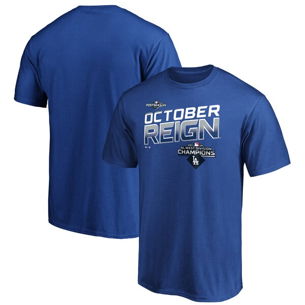 MLB ロサンゼルス・ドジャース Tシャツ 2019 ナショナルリーグ西地区優勝 ロッカールーム マジェスティック/Majestic ロイヤル【MLBポストシーズン2019】