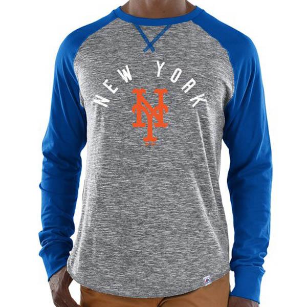 MLB ニューヨーク・メッツ Tシャツ スペシャル ムーブ ロングスリーブ マジェスティック/Majestic グレー ロイヤル