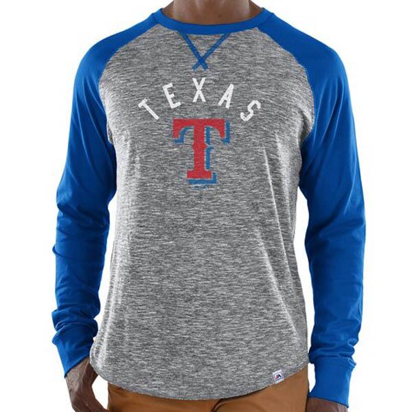 MLB テキサス・レンジャーズ Tシャツ スペシャル ムーブ ロングスリーブ マジェスティック/Majestic グレー ロイヤル