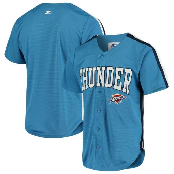 NBA オクラホマシティ・サンダー ユニフォーム/ジャージ プレーメーカー ベースボール ジャージ Starter スターター ブルー
