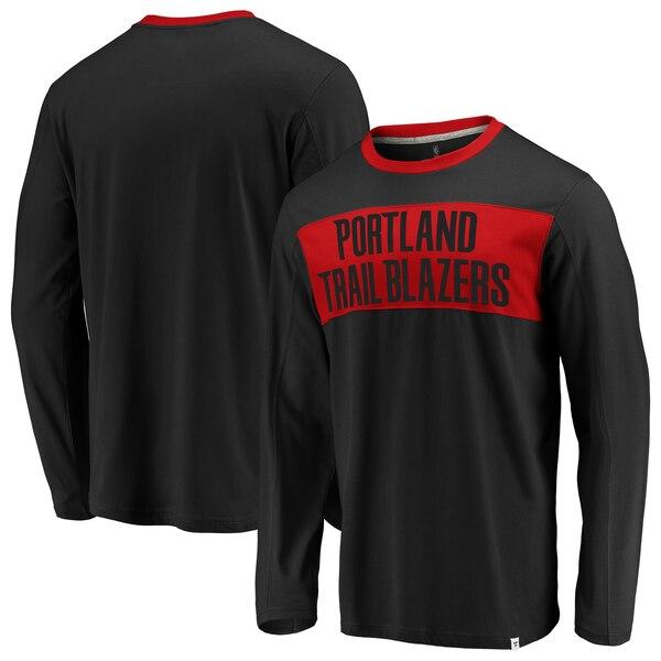 NBA Tシャツ ポートランド・トレイルブレイザーズ アイコニック カラー ブロック ロングスリーブ ロンT ブラック レッド