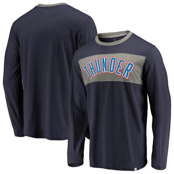 NBA Tシャツ オクラホマシティ・サンダー アイコニック カラー ブロック ロングスリーブ ロンT ネイビー ヘザーグレー