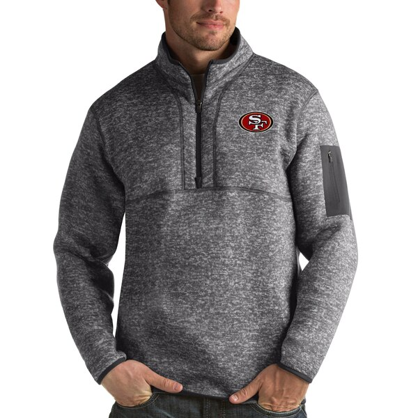NFL 49ers パーカー/フーディー フォーチュン クオーター ジップ プルオーバー ジャケット Antigua チャコール